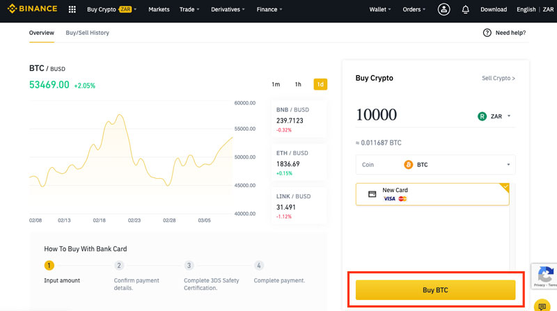 Finalise purchase of bitcoin in South Africa using Binance