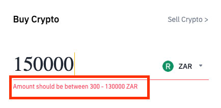Maximum purchase size of bitcoin in South Africa using Binance