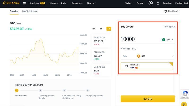 Select value of purchase of bitcoin on Binance crypto exchange